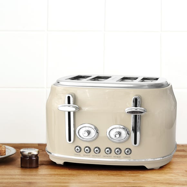 Retro Cream 4 Slice Toaster Cream