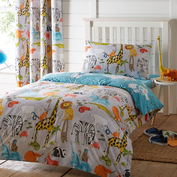 My World Reversible Duvet Cover and Pillowcase Set Blue undefined