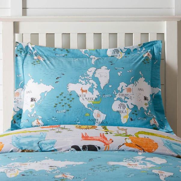 My World Oxford Pillowcase Blue