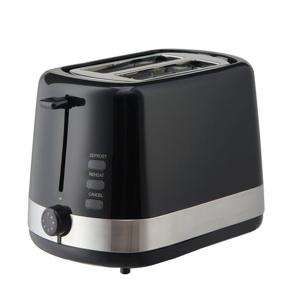 Dunelm Black 2 Slice Toaster Black