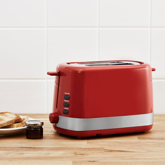 Dunelm 2 Slice Red Toaster Red