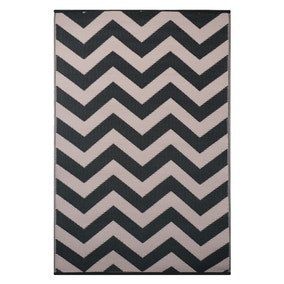 Psychedelia Black and Beige Indoor Outdoor Rug
