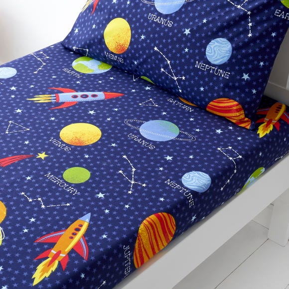 Space Navy Fitted Sheet  undefined