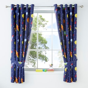 Space Navy Blackout Eyelet Kids Curtains