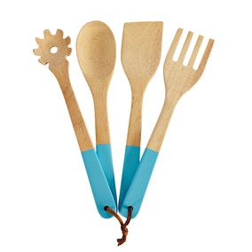 Spectrum Set of 4 Teal Dipped Utensils