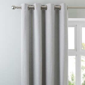 Luna Brushed Dove Grey Blackout Eyelet Curtains