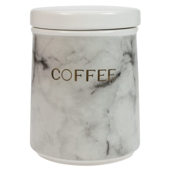 Marble Effect Coffee Canister Black and white