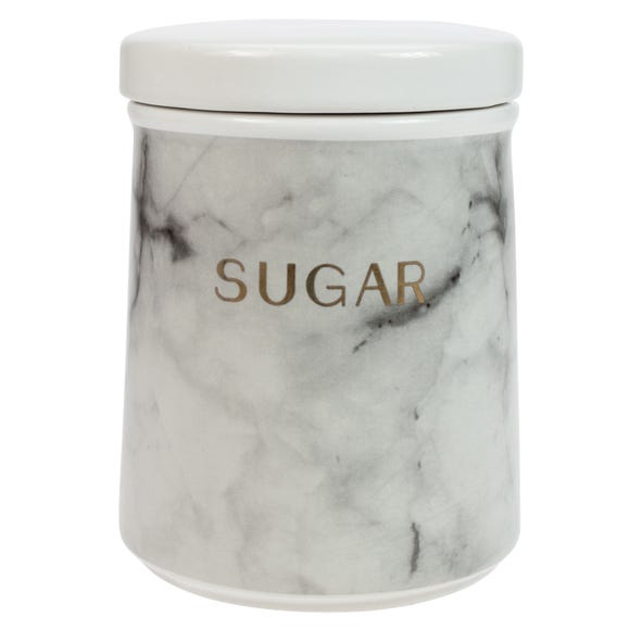 Marble Effect Sugar Canister Black and white
