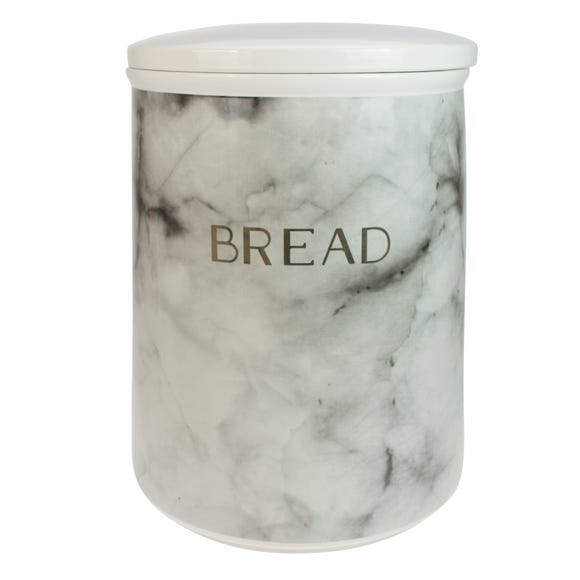 Marble Effect Bread Bin Black and white
