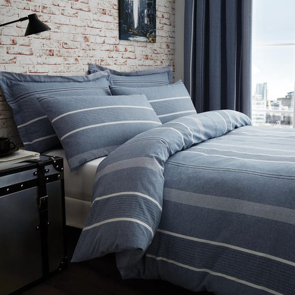 Willington Blue Striped Woven Duvet Cover and Pillowcase Set  undefined