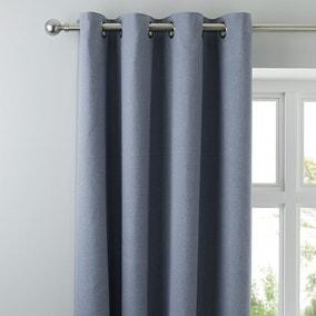 Tyla Denim Blackout Eyelet Curtains