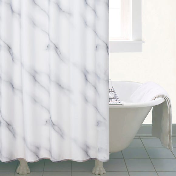 Marble Shower Curtain Black and white