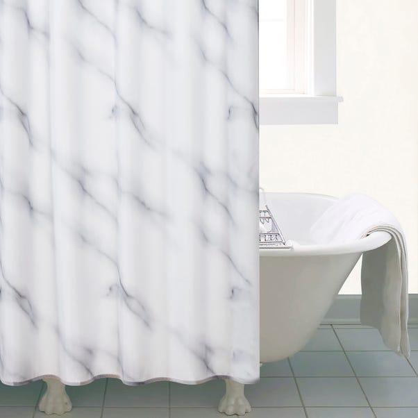 Marble Shower Curtain Black & White