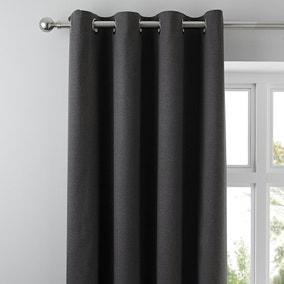 Tyla Graphite Blackout Eyelet Curtains