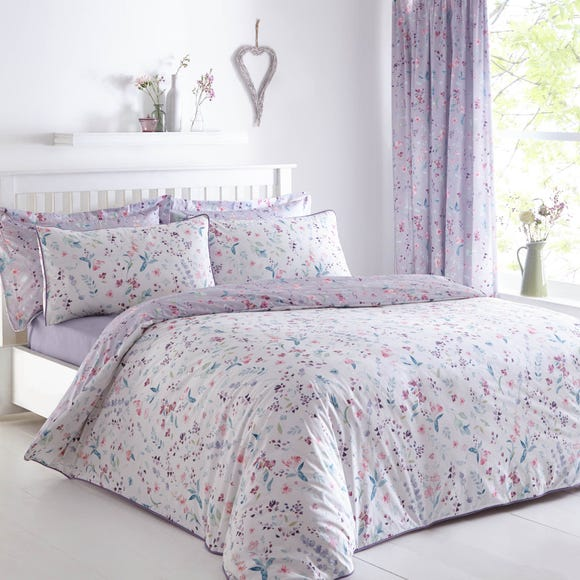 Botanical Meadow Reversible Purple Duvet Cover and Pillowcase Set  undefined