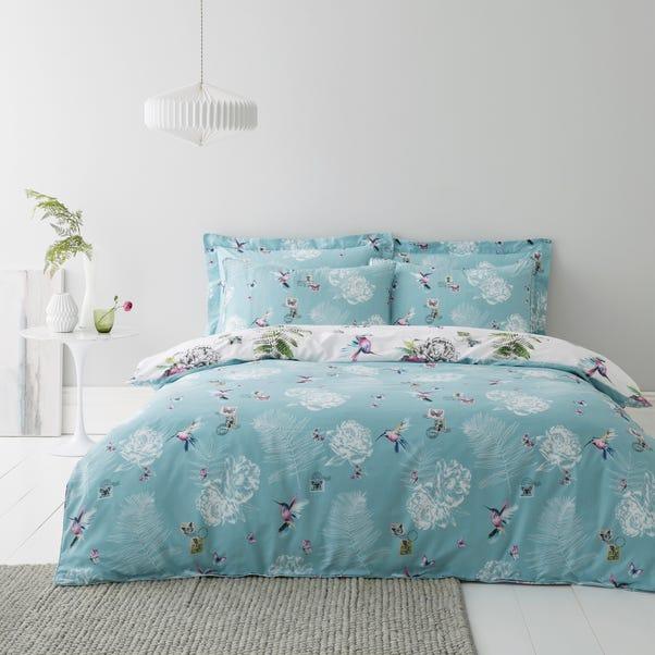 Heavenly Hummingbird Reversible Duck Egg Duvet Cover and Pillowcase Set Duck Egg (Blue) undefined