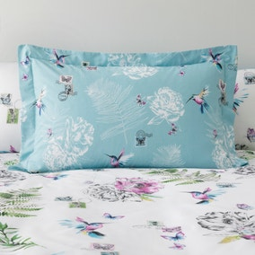 Heavenly Hummingbird Duck Egg Oxford Pillowcase