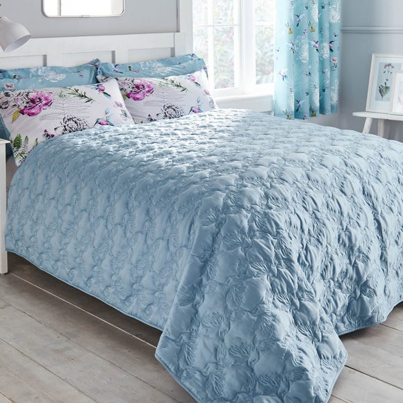 Heavenly Hummingbird Quilted Duck Egg Bedspread Duck Egg (Blue) undefined