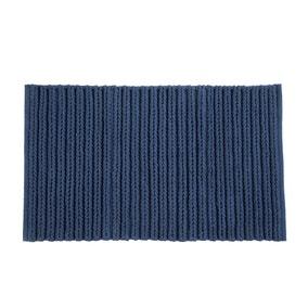 Cable Knit Navy Bath Mat