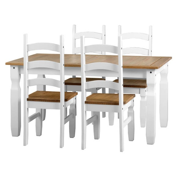 Corona White 4 Seater Dining Set White