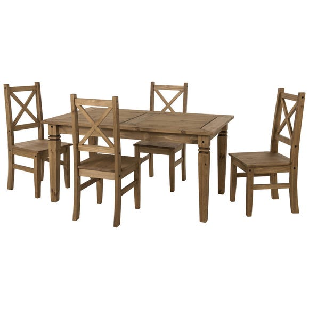 Salvador 4 Seater Dining Set Pine (Brown)