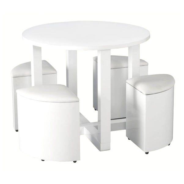 Charisma 4 Seater Stowaway Dining Set White