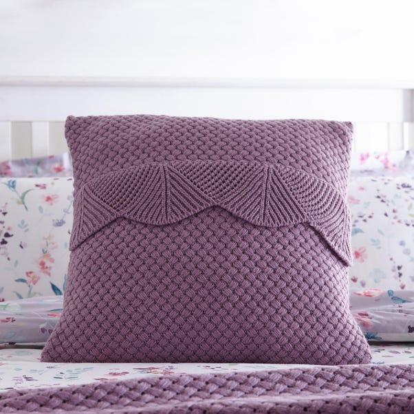 Knitted Scalloped Mauve Cushion Mauve