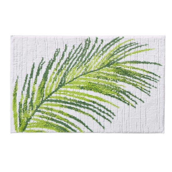 Tropical Leaf Bath Mat White