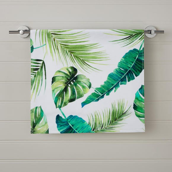 Tropical Leaf Digitally Printed Hand Towel Green undefined