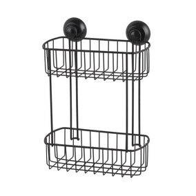2 Tier Black Wire Suction Caddy
