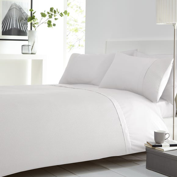 Waffle White Duvet Cover and Pillowcase Set White undefined