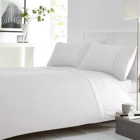 Waffle White Duvet Cover and Pillowcase Set
