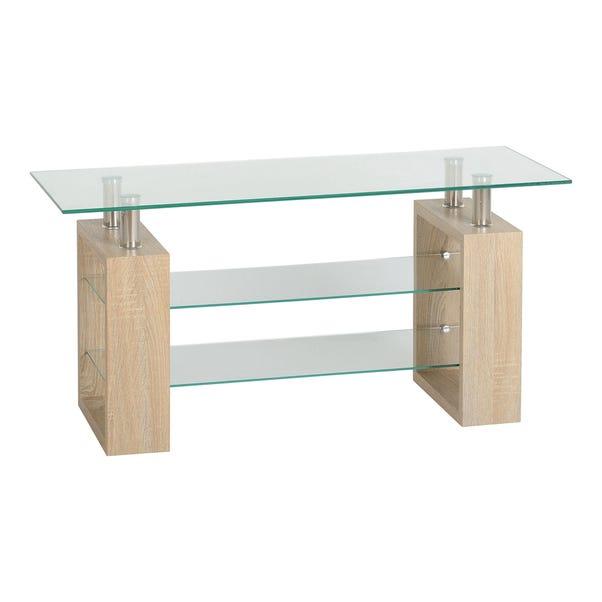 Milan Glass TV Stand Natural