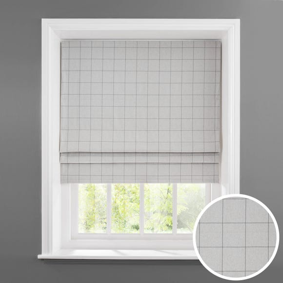 Luna Grey Check Blackout Roman Blind  undefined