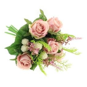 Artificial Rose and Heather Pink Bouquet 28cm