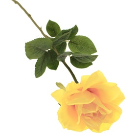 Artificial Rose Yellow Single Stem 65cm