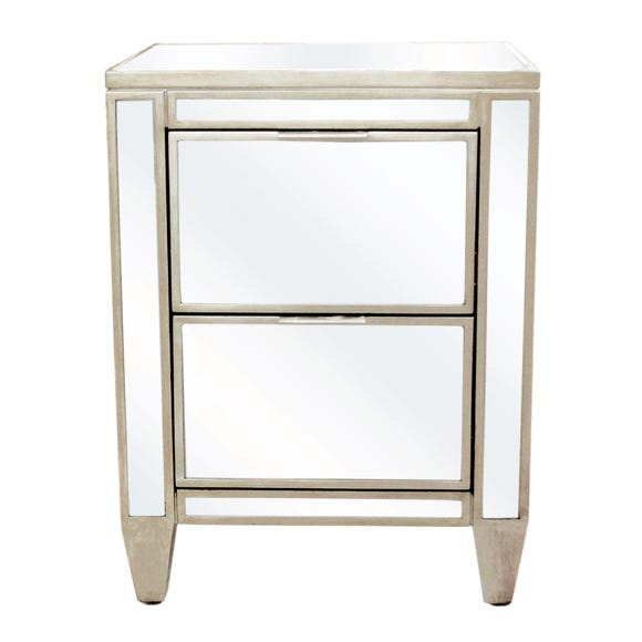 Fitzgerald Mirrored Bedside Table Silver