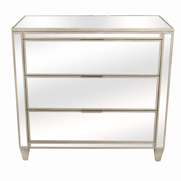 Fitzgerald Mirrored 3 Drawer Chest Silver
