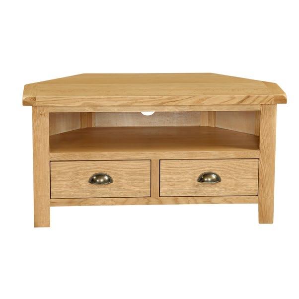 Sherbourne Oak Corner TV Stand Natural
