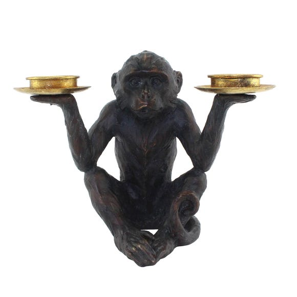 Monkey Tealight Holder Brown