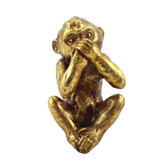 Speak No Evil Resin Monkey Ornament Gold