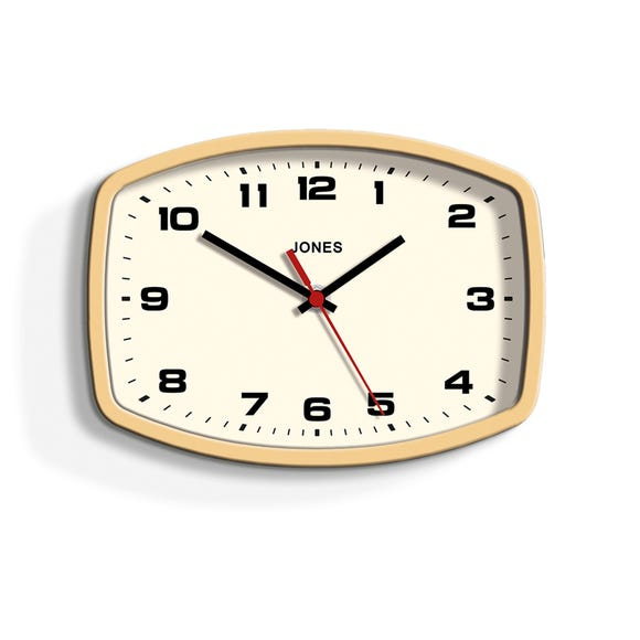 Jones Sketch 23x17cm Wall Clock Yellow Yellow