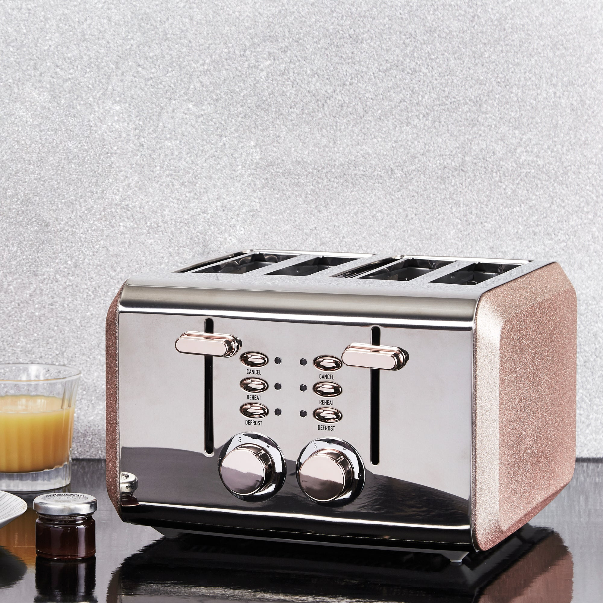 Click to view product details and reviews for Dunelm Bling 4 Slice Rose Gold Toaster Rose Gold.