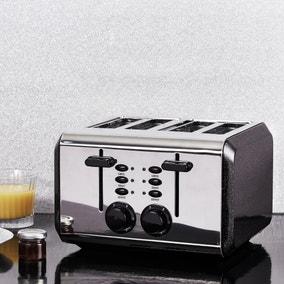 Dunelm Bling 4 Slice Black Toaster