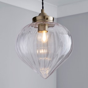 Rio Voyager 1 Light Pendant Ribbed Glass Ceiling Fitting