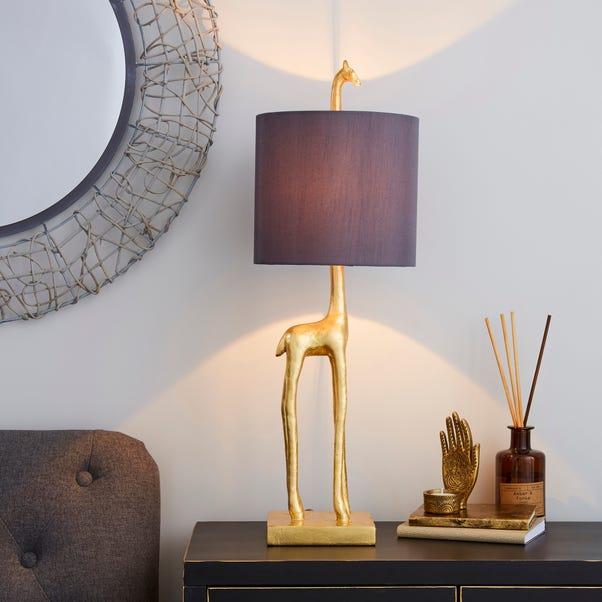 Malmo Giraffe Gold Table Lamp Grey