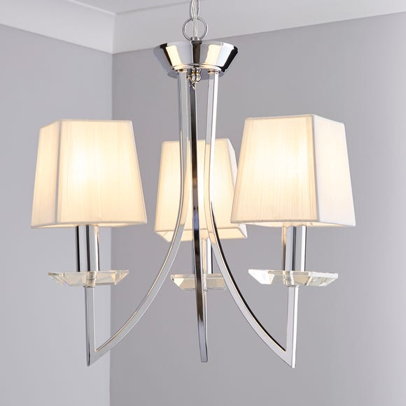 Selsey 3 Light String Shade Chrome Ceiling Fitting Silver