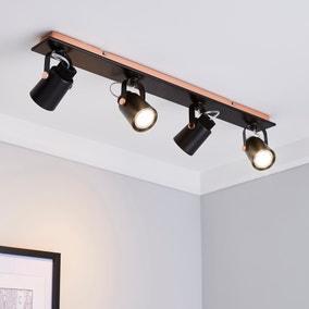 Bolden 4 Light Black Spotlight Bar