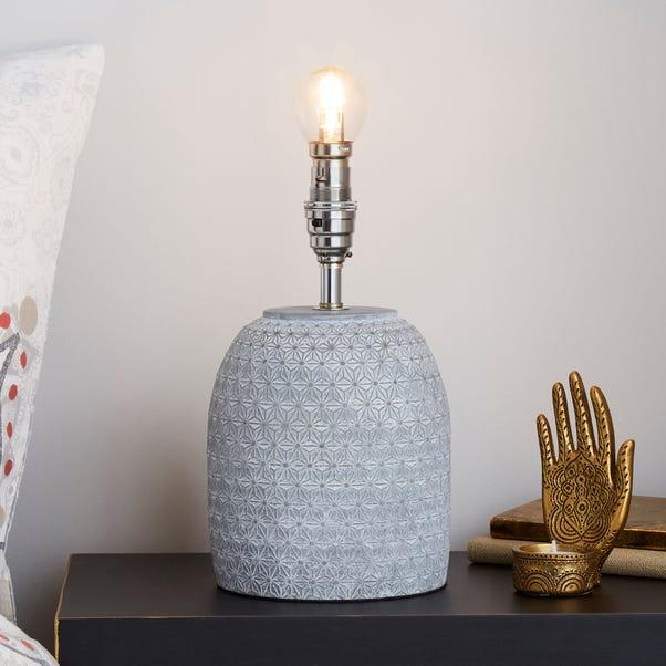 Andel Debossed Grey Concrete Table Lamp Base Grey