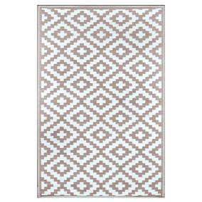 Nirvana Taupe and White Indoor Outdoor Rug